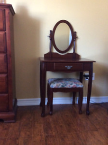 Mahogany Vanity and Bench