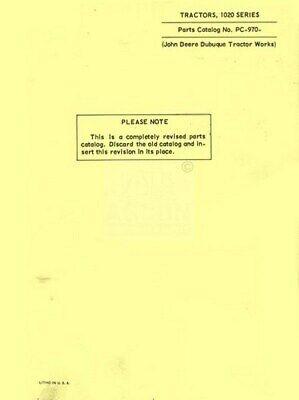 John Deere Model 1020 Gas And Diesel Tractor Parts Manual Catalog Jd
