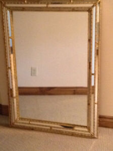 Large Mirror with Bamboo Style Edging