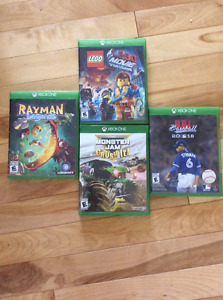 Xbox games Rayman, baseball, monster truck , Lego movie 20 each