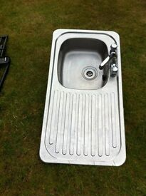 Kitchen sink with tap stainless steel