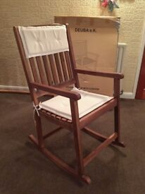 Solid Acacia Hardwood Wooden Rocking Chair