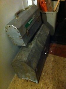 Metal old antique tool box and old lunch buckety Windsor Region Ontario image 2