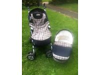 Inglesina reclining pushchair , reclining carrycot , cosy toes and raincover .