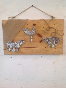 Primitive,rustic looking decorative with cow,rooster,pig hook