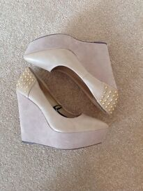 Brand new suede wedges x