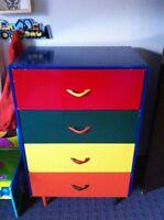 Colourful wood dresser