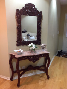 Beautiful Marble Top Console Table  & Mirror For Sale