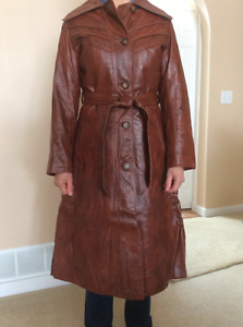 A gorgeous, rich brown, calf length, leather coat