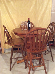 Solid Wood Pub Style Table and Chairs
