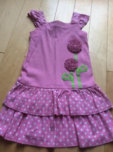 Gymboree girls pink polka did flower dress size 4