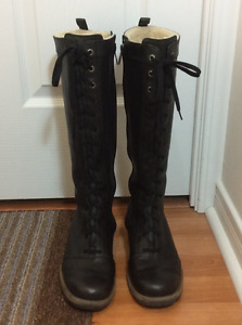 Ugg Leather High Black Lace Up Zip Winter Boots Size 7