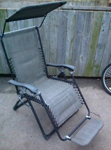 Reclining folding arm  chair with foot support & sun cover