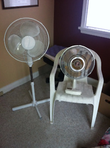 1 upright  & 1 table fans