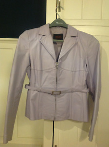 Stylish and feminine Oscar Leopold lavender leather jacket