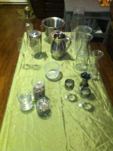 Assorted Glass & Stainless Décor & Bar Accessories