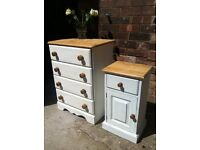 Solid pine chest of drawers & bedside cabinet (delivery available)