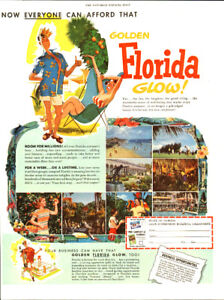 1953 large (10 x 13 1/4) magazine ad for the State of Florida
