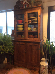 ANTIQUE FLAT TO THE WALL CUPBOARD RUSTIC FARMHOUSE STYLE 2 PIECE