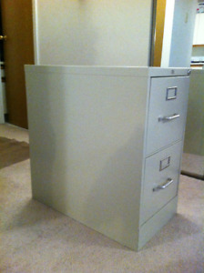 Sturdy two-drawer all-metal filing cabinet for sale
