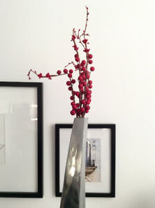 Tall silver-like vase