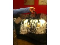 Bnwt river island fur leather handbag