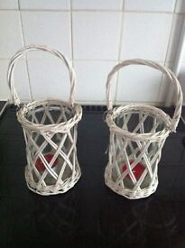 Pair of large shabby chic tea light holders
