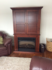 Tv stand/hutch/ cabinet with fireplace