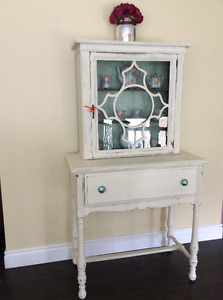Antique Glass Cabinet & base table Old White Distressed Compact