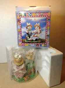 NEW IN BOX collectible Easter Fabric Mâché Bunnies