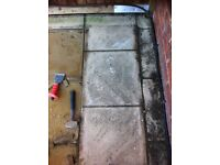 Cream riven paving slabs used