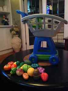 Grocery cart with play food