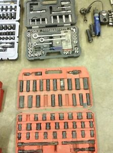 Assorted socket sets and tool boxes