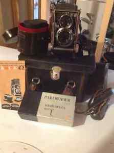 Vintage late fifties Mamiyaflex camera and accessories