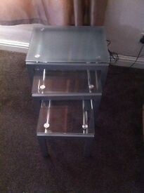 Glass Nest of table and Coffee table