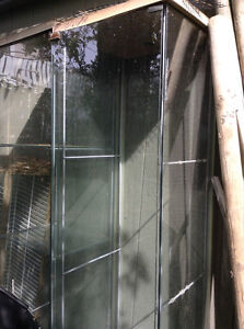 Glass display cases and a shed
