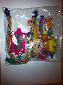 Large bag of bird toys and purch's