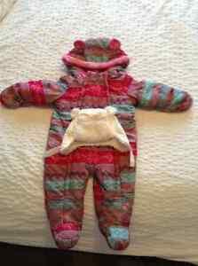 Manteau d'hiver bébé fille 6-12 mois avec tuque blanche
