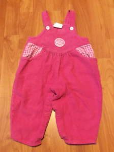 2 Pair of Baby Girl Overalls, size 12 Months