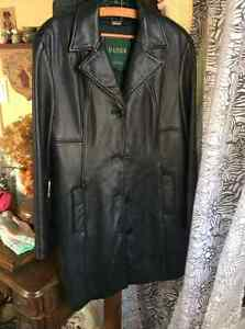Ladies Danier black leather lined coat Kitchener / Waterloo Kitchener Area image 1
