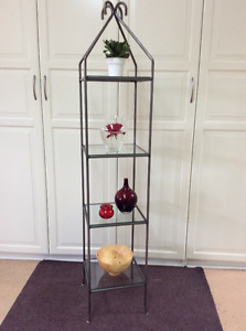 Plant stand with 4 glass shelves