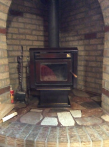 Wood Burning Stove, comes with wood logs!