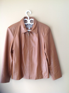 Almost new short leather jacket size 12
