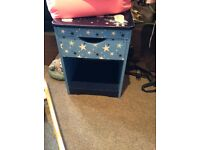 Blue bed side table /draw