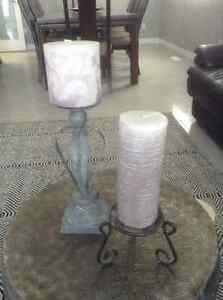 NEW, 2 CANDLE HOLDERS AND 2 CANDLES