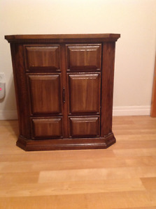 Antique solid wood dresser, chest, end table and mirror