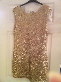 Brand new gold size 14, short sequence dress