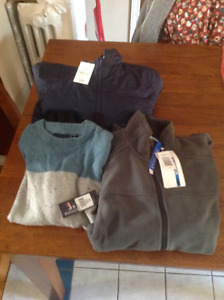 MENS SIZE SMALL WINTER COAT, SWEATER, FLEECE JACKET new with tag