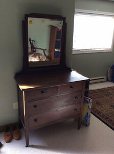 Antique solid oak dresser and mirror