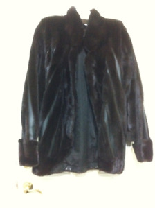 100% REAL LEATHER AND MINK FUR COAT